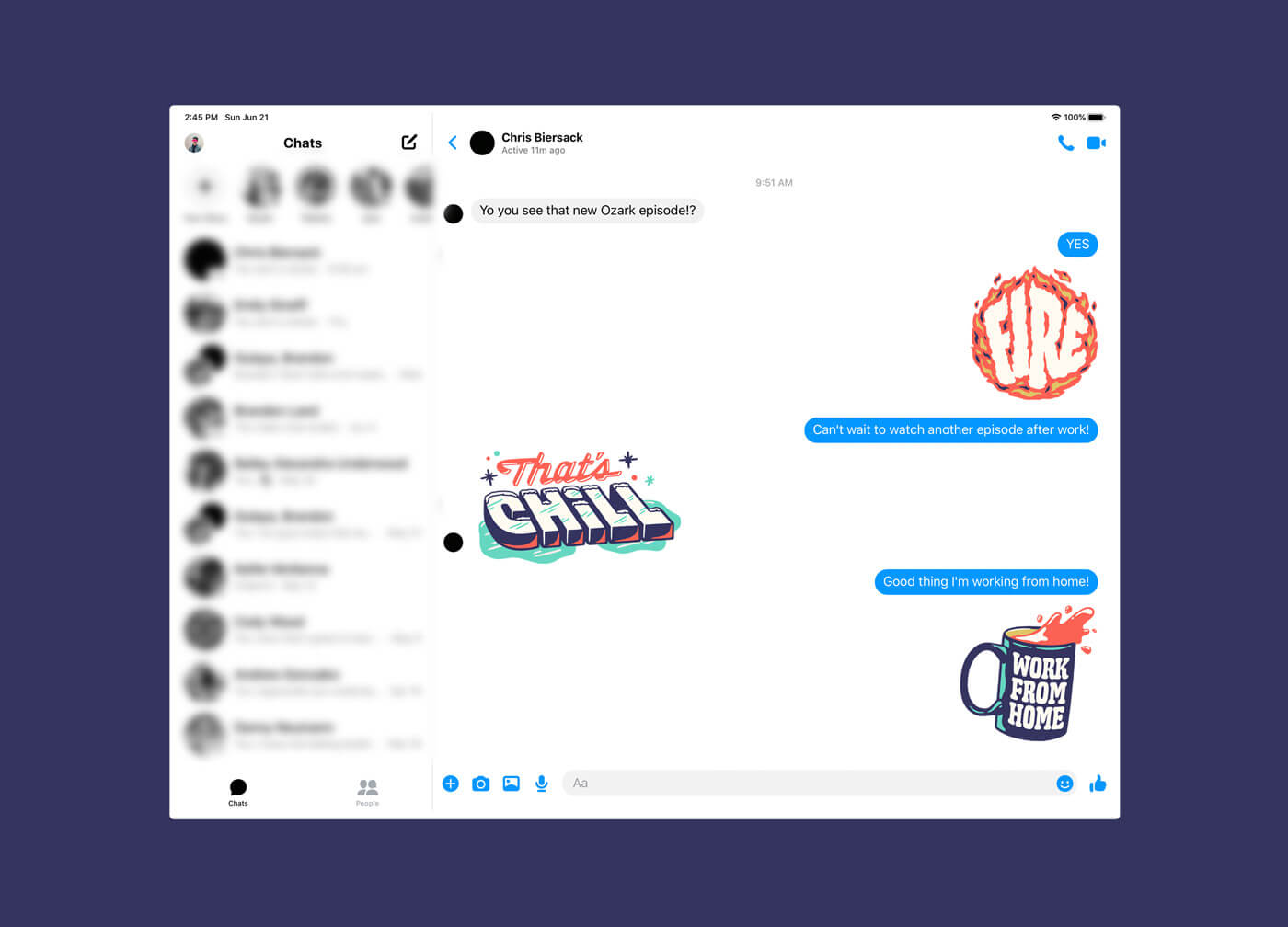 Facebook iPad Messenger